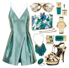 """""""Goldy Teal"""" by restyikhyar ❤ liked on Polyvore featuring Topshop, Yves Saint Laurent, Gucci, French Connection, Movado, Estée Lauder, Marc Jacobs and Miss Selfridge"""