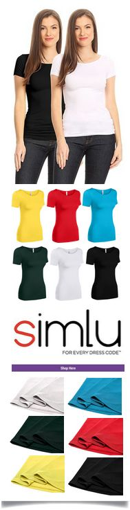 $4.99 - $24.99 Simlu Womens Plain Tee Shirt Slim Fit Short Sleeve Casual Basic Top - Made In USA