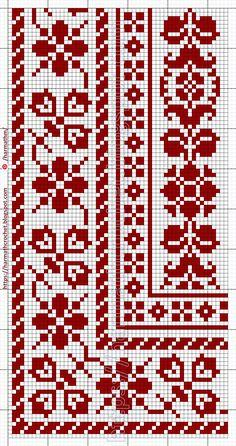 Cross Stitch Borders, Cross Stitch Charts, Cross Stitch Patterns, Filet Crochet, Crochet Lace, Embroidery Stitches, Embroidery Patterns, Tapestry Crochet, Knit Patterns