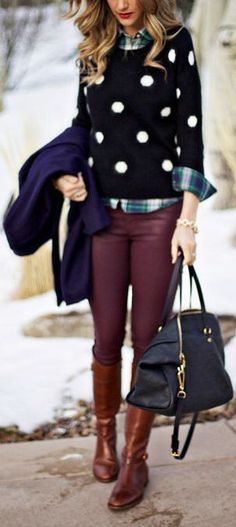 Polka Dot Sweater with Maroon Skinny Pants and brown boots