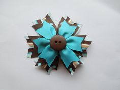 Turquoise & Brown Pinwheel Hairbow Boutique by SewCuteBoutiqueBow, $5.95