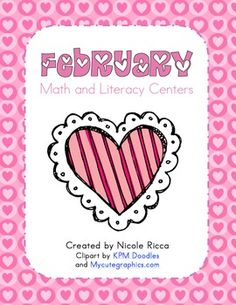 This FREE packet includes lots of fun hands-on center activities for math and literacy. Includes 9 math center activities and 9 literacy activities.Math Skills:-Addition-Counting-Skip Counting by Tens-Place Value-Measurement-Patterns-Sorting Math Literacy, Literacy Activities, Literacy Centers, Teaching Resources, Valentine Theme, Valentine Day Crafts, Valentines Day Activities, Holiday Activities, Kindergarten Fun