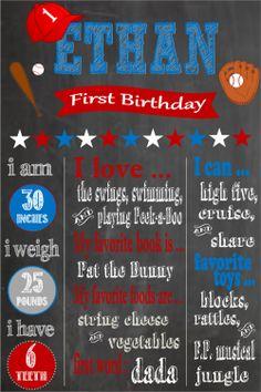 Printable First Birthday Chalkboard Poster by PintSizePartyDesigns, $15.00