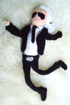 Help them drift off to sleep with a cuddly knitted Karl Lagerfeld snuggly toy - LOL!