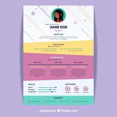 Concepto de curriculum creativo colorido... | Free Vector #Freepik #freevector #negocios #abstracto #plantilla #curriculum-vitae Portfolio Design Books, Portfolio Resume, Portfolio Examples, Book Design, Web Design, Graphic Design Resume, Graphic Design Posters, Creative Resume, Creative Design