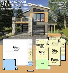 Architectural Designs Ultra-Modern Tiny House Plan gives you over 750 square feet of heated living space and a great open-air deck off the master and family room. Where do YOU want to build? Modern Tiny House, Contemporary House Plans, Modern House Plans, Carriage House Plans, Small House Plans, House Floor Plans, Small Room Design, Tiny House Design, Modern House Design