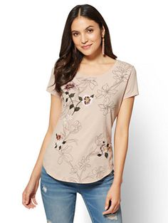 Shop Embroidered Tee - Floral. Find your perfect size online at the best price at New York & Company.