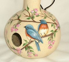 Blue Bird and Cherry Blossoms Gourd Birdhouse  by FromGramsHouse, $28.00