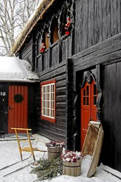 """red doorway and winter in black & red. this pin has to go here because I don't have a """"Side of Barn"""" board. Life can be so challenging."""