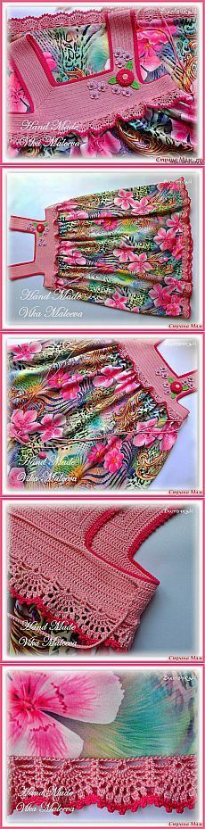 Комбинированный сарафан *Цветочная феерия* для девочки связанный крючком. [] #<br/> # #Crochet<br/>