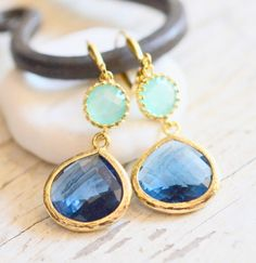 Sapphire Blue Teardrop and Aqua Dangle Earrings in Gold. Fashion Dangle Earrings. Drop Earrings. Wedding Jewelry. Gold Earrings.