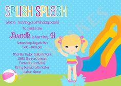 Splash Party Birthday Invitation Waterslide by jcbabycakes on Etsy, $10.00