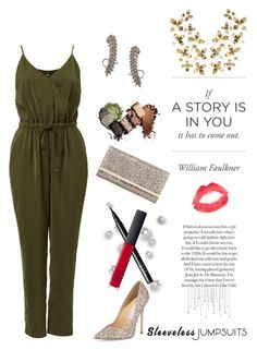 """Contest submission #sleevelessjumpsuits!"" by campanellinoo on Polyvore featuring NARS Cosmetics, Jimmy Choo, Pori, Topshop, Umbra and sleevelessjumpsuits"