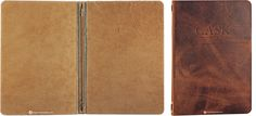 Leather Menu Covers, Cask Bar & Grill, solid thick slab genuine leather in a rich brown, blind debossed artwork, decorative elastics and eye...