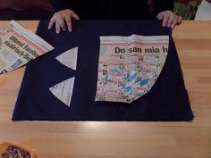 16. Habe jetzt mit Zeitungen Schnittmuster erstellt für die Seitenleisten am Mantel vorne
