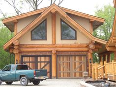 Gallery Garages and Barns - Pioneer Log Homes Midwest Diy Log Cabin, Small Log Cabin, Log Cabin Kits, Log Cabin Homes, Log Cabins, Garage Exterior, Exterior Paint, Getaway Cabins, Wooden Cabins