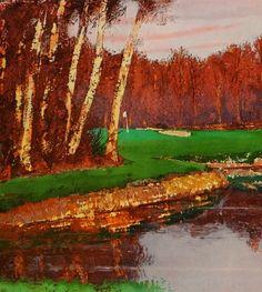 Golf, gift for men, Nature, landscape, countryside, Indian summer, original signed print, rust, green,   painted trees, Saburo SHIMADA