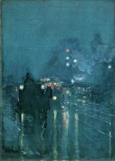 NOCTURNE , RAILWAY CROSSING , CHICAGO by Childe Hassam