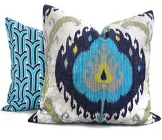 Jonathan Adler Blue and Aquamarine Anton Arch Pillow by PopOColor
