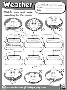 Funtastic English 1 - Graders - Teach English Step By Step Weather Worksheets, Weather Activities, School Worksheets, English Primary School, English Classroom, Classroom Language, Weather Vocabulary, Grammar And Vocabulary, Vocabulary Cards