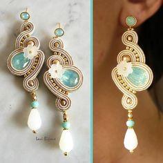 Soutache Earrings Handmade Earrings Hand Embroidered by LaviBijoux Pink Earrings, Beaded Earrings, Beaded Jewelry, Shibori, Pink Jewelry, Jewelery, Handmade Necklaces, Handmade Jewelry, Soutache Necklace