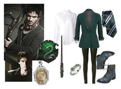 """Salazar Slytherin (Serpentard)"" by melodie-narcissa ❤ liked on Polyvore featuring Yves Saint Laurent, Miz Mooz and Crippen"