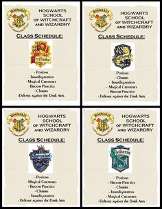 Class schedules  Creative and Cheap - Fun and Fabulous: Ultimate Harry Potter Party