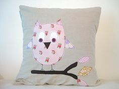 Owl cushion cover, pink, by Tailorbirds on Etsy, €25.00