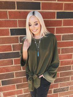 'Knot Tied Down Sweatshirt' in Olive #shopbubblyco #bubblyco