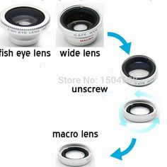 Silver colour Magnetic 3 in1 Fisheye Fish Eye Lens + Wide Angle + Macro Mobile Phone Lens Camera Lens for iPhone Samsung S4 Note