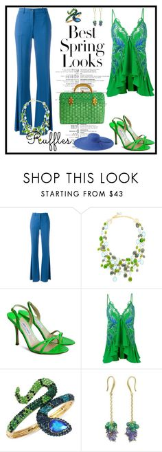 """""""Ruffled Top"""" by lily0906 ❤ liked on Polyvore featuring Roberto Cavalli, Loulou De La Falaise, Jimmy Choo, Betsey Johnson, NOVICA, San Diego Hat Co., H&M and ruffledtops"""