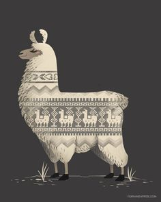 Llamas make the best sweaters + Illustration | Fernanda Frick + Behance