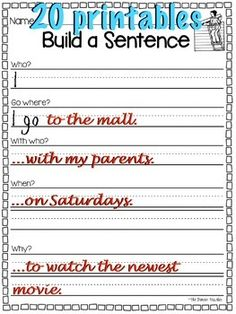 Build a better sentence with these 20 printables! Answer key included!