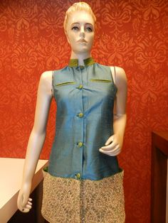 Tunic with a difference.... raw silk tunic with embroidered hem line...very stylish!!!
