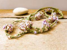 Spring fashion Honeysuckle green pink crochet beaded strand.