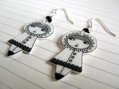 Little dolls earrings - sterling silver and shrinking plastic. €29.00, via Etsy.