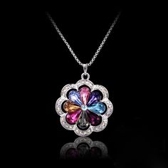 Shining Alloy Crystal Colourful Flower Women's Necklace