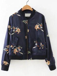 Veste fleurs brodées manche longue avec poches - bleu marine