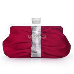 Pochette soirée bordeaux sac à main tendance pas cher en satin décoré de strass pochette bandoulière