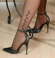 Ankle-strap Shoes and Embroidered Hosiery #highheelbootsstockings #highheelspumps