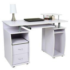 Bureau informatique blanc avec tablette coulissante for Bureau informatique avec tablette coulissante