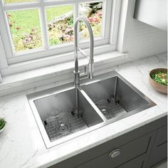 """Ancona Prestige Series Top Mount 30"""" L x 19"""" W Double Basin Drop-in Kitchen Sink with Faucet, #19quot #30quot #Ancona #Basin #Double #DropIn #Faucet #Kitchen #Mount #Prestige #Series #Sink #Top Basin, Double Basin, Kitchen Bath Collection, Pull Out Faucet, Modern Faucet, Drop In Kitchen Sink, Kitchen Art, Sink, Kitchen Design"""