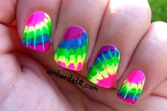 Neon Tie Dye Nails pretty cool, except I will probably do it only on one finger Get Nails, Love Nails, How To Do Nails, Pretty Nails, Hair And Nails, Nailart, Tie Dye Nails, Uñas Fashion, Fashion Beauty