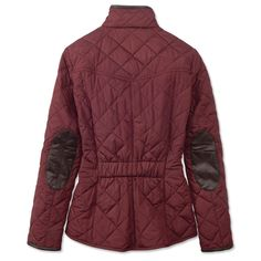 A current update to the traditional equestrian quilt, this sleek Barbour diamond quilted jacket design delivers a flattering silhouette with front princess seaming and an elastic back waist for a custom fit. This lightly insulated, diamond-quilted jacket is water resistant and breathable, perfect for damp chilly days outdoors. Sophisticated leather trim and leather elbow patches. Stand collar, zip-front placket with rugged two-way zip, roomy flap-top handwarmer pockets. In rosewood…
