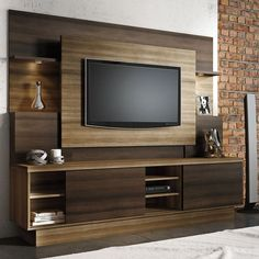 Estante Home para TV até 55 Polegadas Aron Linea Brasil Capuccino Wood / Ébano - Móveis para Sala de Estar - Magazine Luiza Home Theater Design, Home, Tv Unit Furniture, Tv Wall Design, Wall Unit Designs, Tv Room Design, Living Room Tv Unit Designs, Living Room Tv