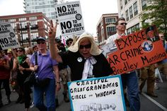 Nan Whigmore of Portland, Ore., participates in the anti-war march.