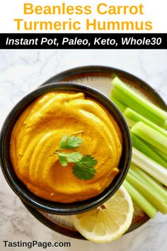 Beanless Carrot Turmeric Hummus Paleo Tasting Page Paleo friendly beanless carrot turmeric hummus a dairy free creamy healthy dip Whole 30 Snacks, Whole 30 Recipes, Paleo Recipes, Real Food Recipes, Pescatarian Recipes, Paleo Meals, Free Recipes, Dairy Free Dips, Gluten Free