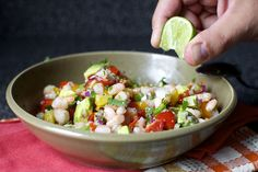 Shimp/avocado/amazingness salsa/taco filling!!!  (a little more lime in the salsa by smitten, via Flickr)