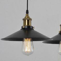 MODERN VINTAGE INDUSTRIAL METAL BLACK LOFT BAR CEILING LIGHT SHADE PENDANT LIGHT in Home, Furniture & DIY | eBay