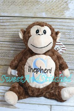 Monogrammed stuffed animal is perfect baby gift for elephant monkey themed nursery or baby shower gift monogrammed stuffed animal negle Image collections